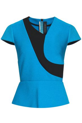 ROLAND MOURET Two-tone crepe top