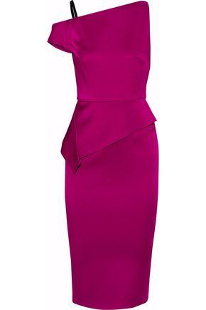 ROLAND MOURET Cutout satin peplum dress