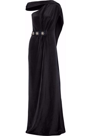 ROLAND MOURET Embellished draped silk-crepe gown ...