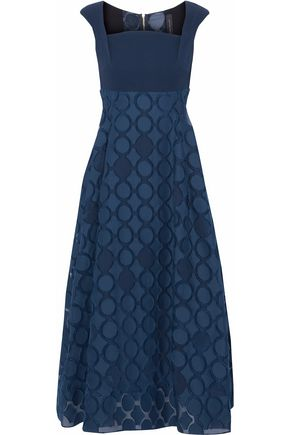 ROLAND MOURET Paneled fil coupé cotton and silk-blend midi dress