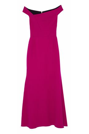 ROLAND MOURET Off-the-shoulder wool-crepe gown