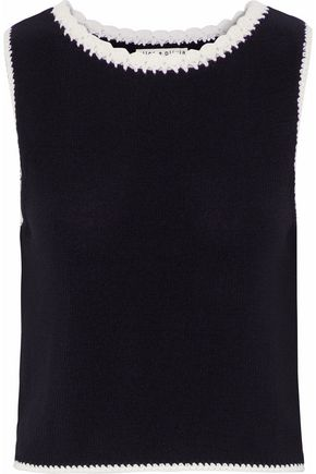 ALICE+OLIVIA Two-tone stretch-knit cotton-blend top
