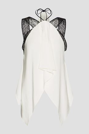 ROLAND MOURET Cutout lace-trimmed silk top