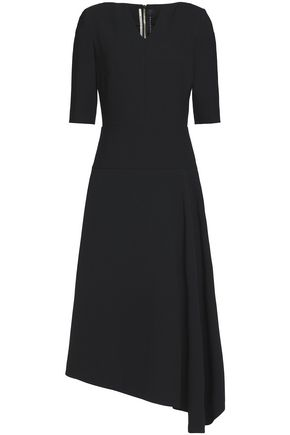 ROLAND MOURET Asymmetric crepe midi dress