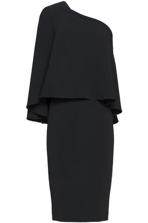 ROLAND MOURET Layered one-shoulder crepe dress