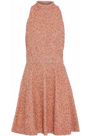Woman Embellished Silk Halterneck Mini Dress Coral