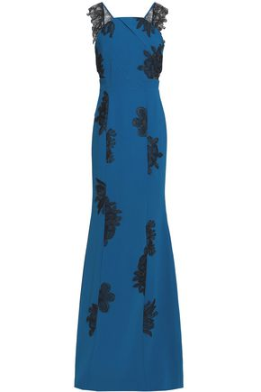 ROLAND MOURET Flared two-tone lace and crepe gown