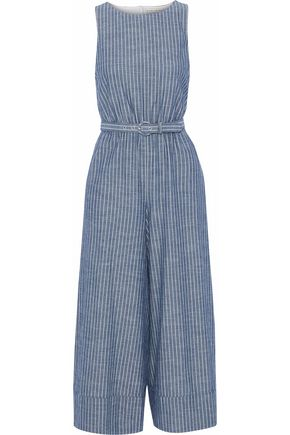 ALICE + OLIVIA Belted striped chambray jumpsuit