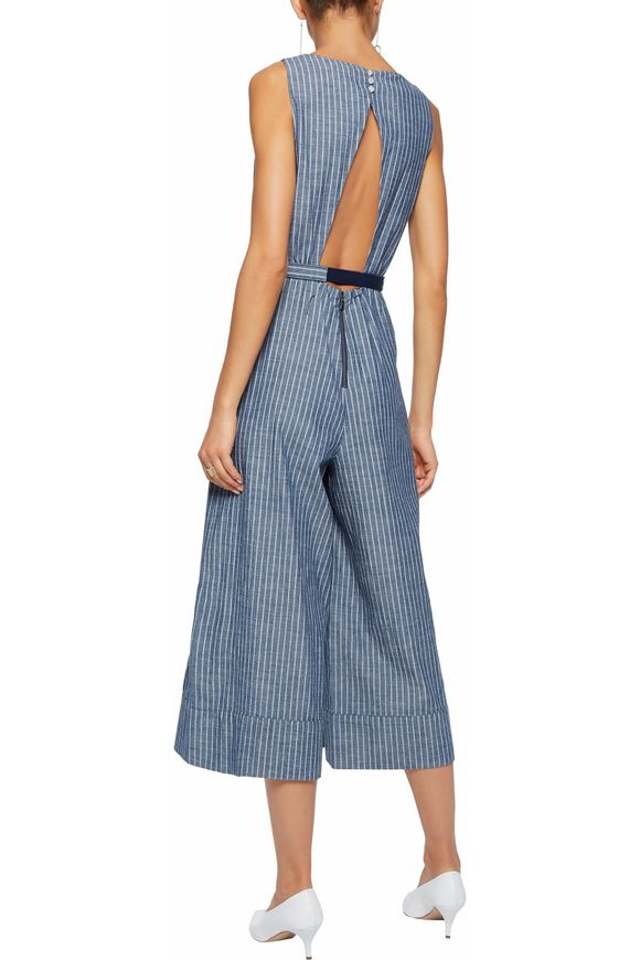 Belted striped cutout cotton-chambray jumpsuit | ALICE + OLIVIA | Sale up  to 70% off | THE OUTNET
