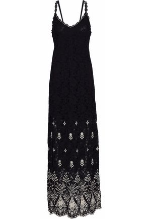 ALICE + OLIVIA Embroidered cotton-blend guipure lace maxi dress