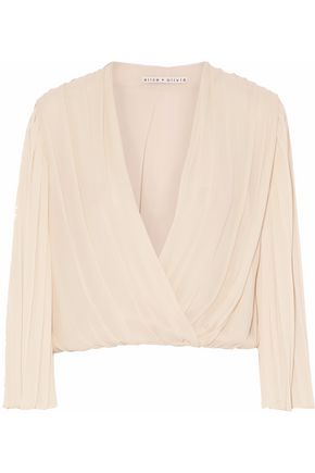 ALICE + OLIVIA Pleated wrap-effect silk blouse