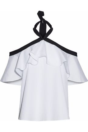 ALICE + OLIVIA Off-the-shoulder ruffled cotton-poplin top
