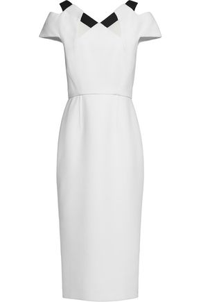 ROLAND MOURET Cutout two-tone wool-crepe dress