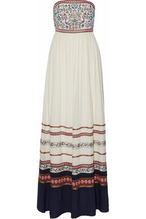 ALICE + OLIVIA Embroidered woven maxi dress