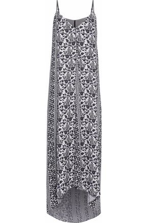 ALICE + OLIVIA Asymmetric printed crepe de chine maxi dress
