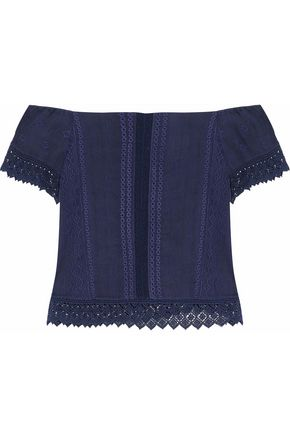 ALICE+OLIVIA Off-the-shoulder crochet-trimmed cotton top