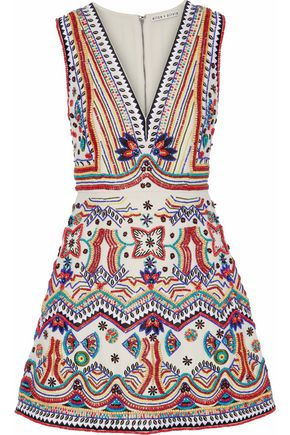 ALICE + OLIVIA Bead-embellished embroidered cotton mini dress
