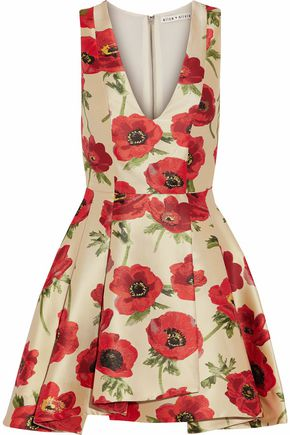 ALICE+OLIVIA Floral-print satin-jacquard mini dress