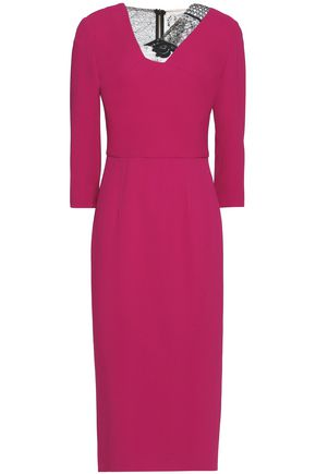 ROLAND MOURET Cutout lace and crepe midi dress