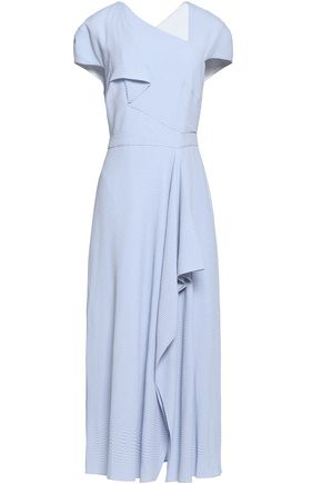 ROLAND MOURET Asymmetric draped jacquard midi dress
