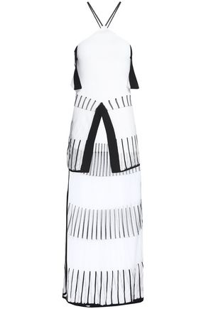 ROLAND MOURET Off-the-shoulder two-tone ponte-knit midi dress