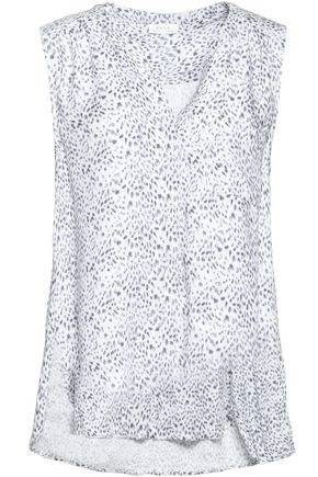 JOIE Pleated printed twill shirt