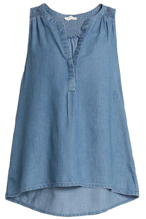 JOIE Shirred cotton-blend chambray blouse