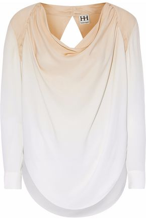 HAUTE HIPPIE Draped dégradé silk-georgette blouse