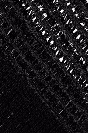 HAUTE HIPPIE Fringed open knit-paneled jersey midi dress