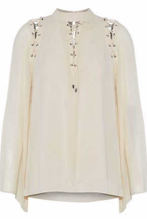 HAUTE HIPPIE Lace-up silk top