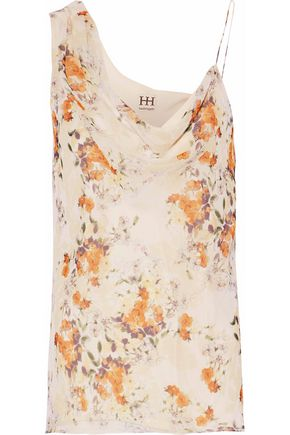 HAUTE HIPPIE Draped floral-print silk top
