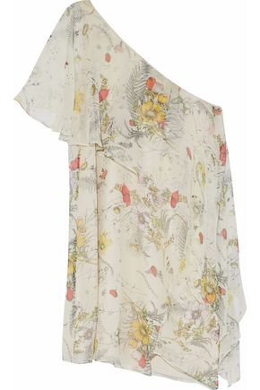 HAUTE HIPPIE One-shoulder layered floral-print silk mini dress