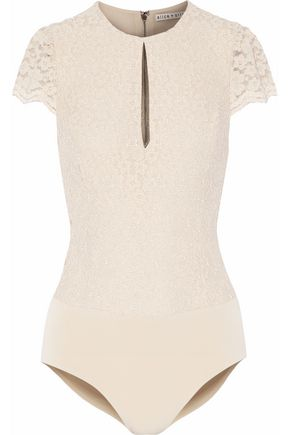 ALICE + OLIVIA Stretch-lace bodysuit
