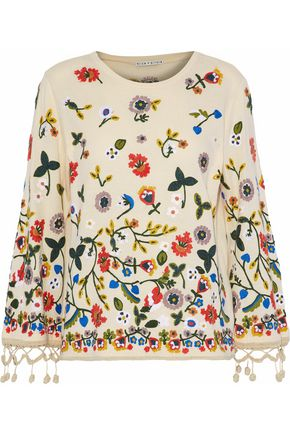 ALICE + OLIVIA Floral-embroidered cotton top