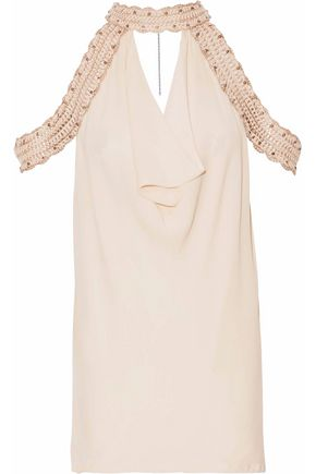 HAUTE HIPPIE Crochet-trimmed draped silk crepe de chine top