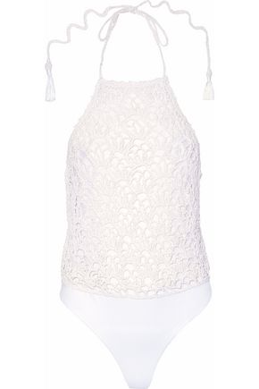 HAUTE HIPPIE Crochet-knit cotton-blend halterneck bodysuit