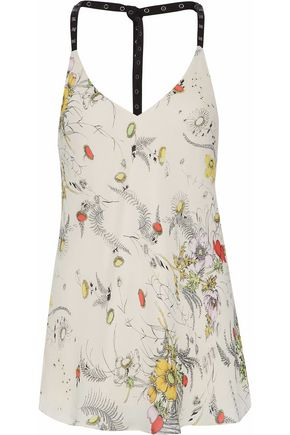 HAUTE HIPPIE Open-back studded floral-print silk-crepe de chine top