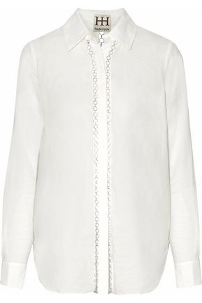 HAUTE HIPPIE Chain-embellished cotton-poplin shirt
