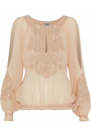HAUTE HIPPIE Embroidered georgette top