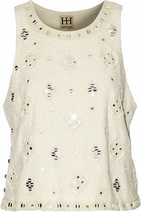 HAUTE HIPPIE Sequin-embellished cotton corded lace top