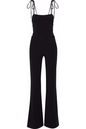 HAUTE HIPPIE Lace-up cotton-blend twill jumpsuit
