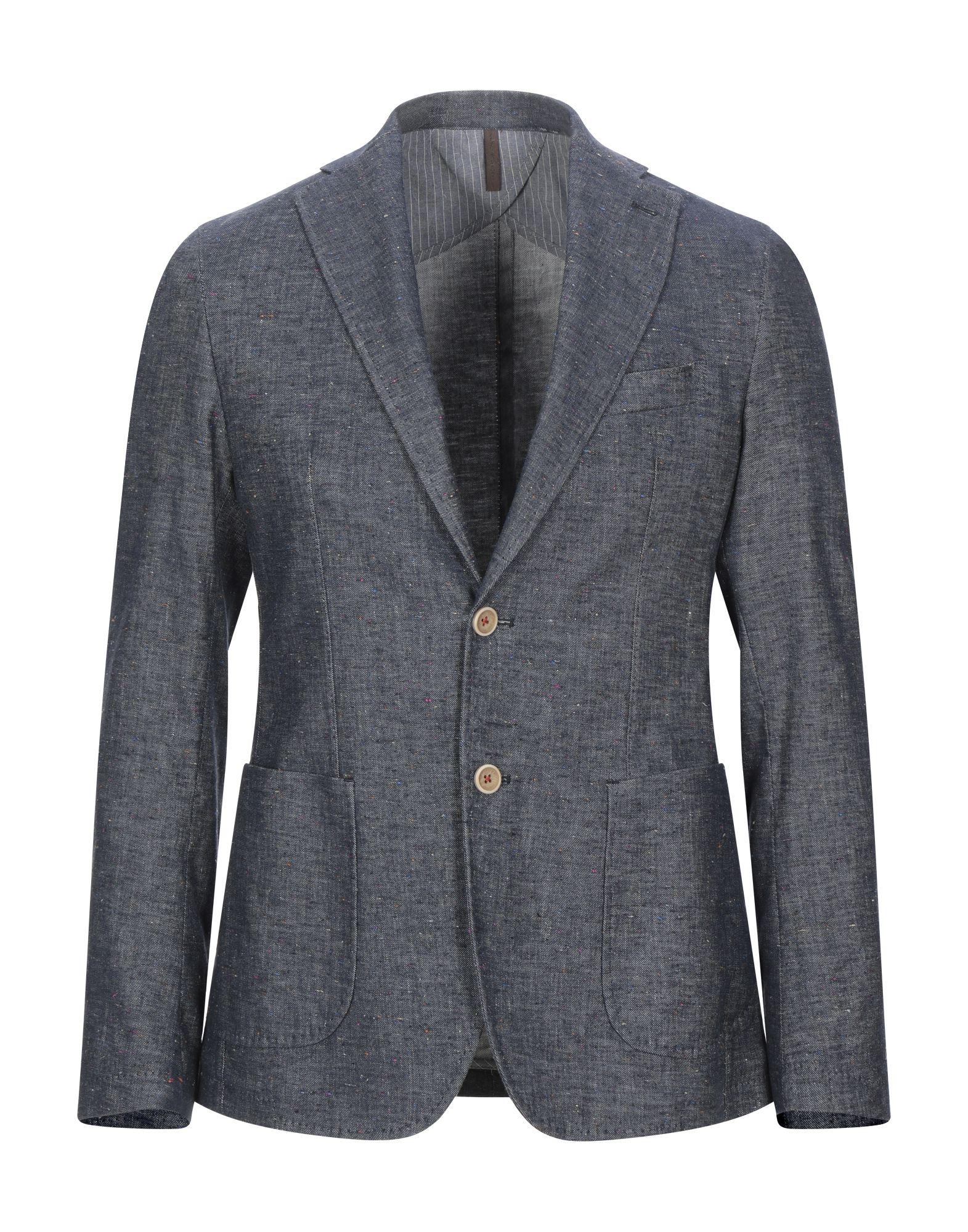 《セール開催中》LABORATORI ITALIANI メンズ テーラードジャケット ブルー 48 麻 53% / コットン 44% / ポリウレタン 2% / シルク 1%