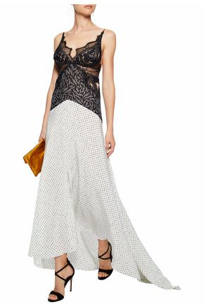 STELLA McCARTNEY Green Carpet Challenge guipure lace and printed silk gown