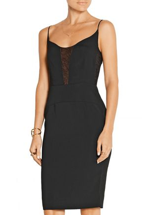 NARCISO RODRIGUEZ Lace-paneled stretch-crepe dress