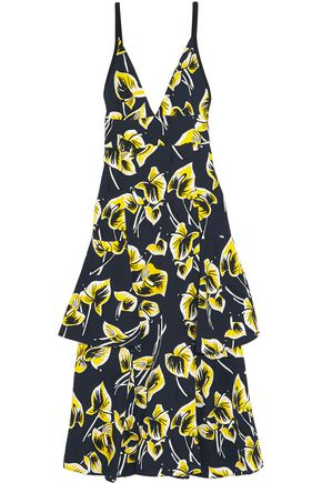 MARNI Ruffled floral-print matelassé dress