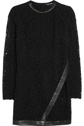 TOM FORD Leather-trimmed guipure lace mini dress