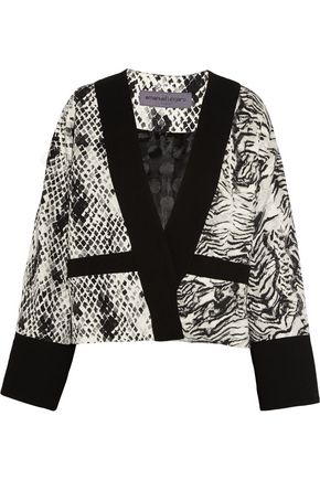 EMANUEL UNGARO Animal-print crepe, jersey and satin jacket