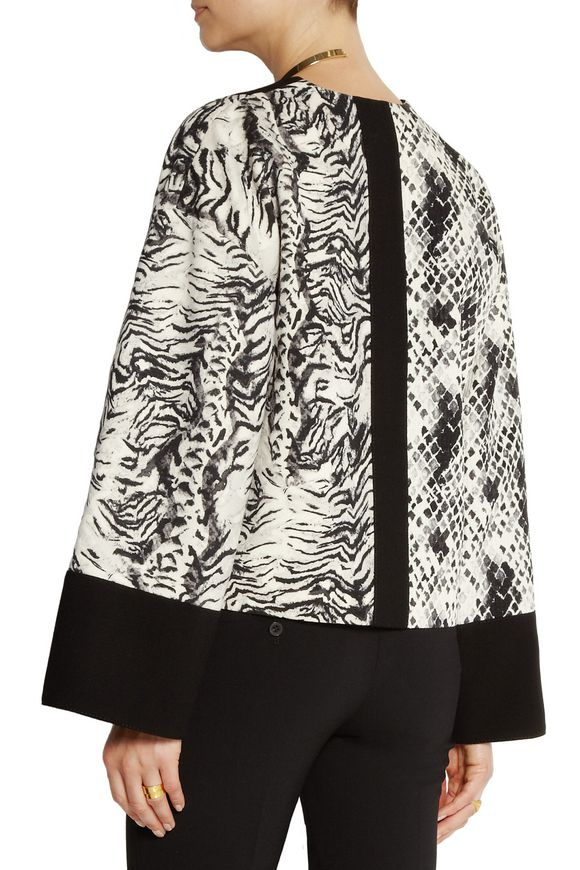 Animal-print crepe, jersey and satin jacket | EMANUEL UNGARO | Sale up to 70%  off | THE OUTNET