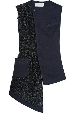 ESTEBAN CORTAZAR Asymmetric silk-cloqué and basketweave vest