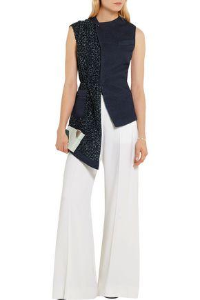 ESTEBAN CORTAZAR Asymmetric silk-cloqué and basketweave vest